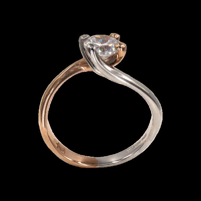 Μονόπετρο δαχτυλίδι δίχρωμο 14Κ - MD41359