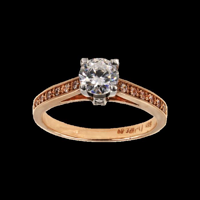 Μονόπετρο δαχτυλίδι δίχρωμο 14Κ - MD41398