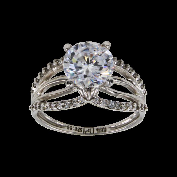 Μονόπετρο δαχτυλίδι λευκόχρυσο 14Κ - MD41556