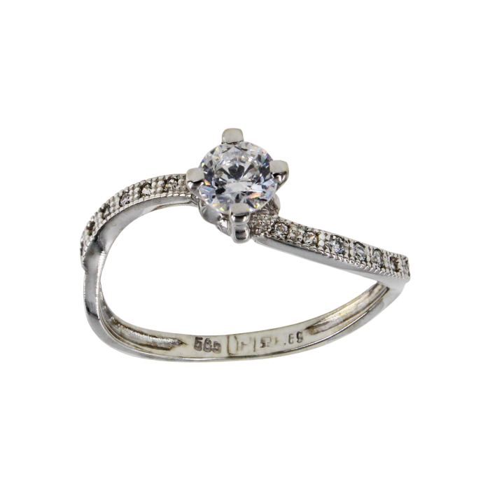 Μονόπετρο δαχτυλίδι λευκόχρυσο 14Κ - MD41702
