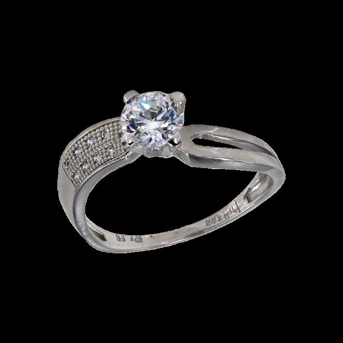 Μονόπετρο δαχτυλίδι λευκόχρυσο 14Κ - MD41707