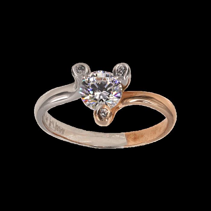 Μονόπετρο δαχτυλίδι δίχρωμο 14Κ - MD41712