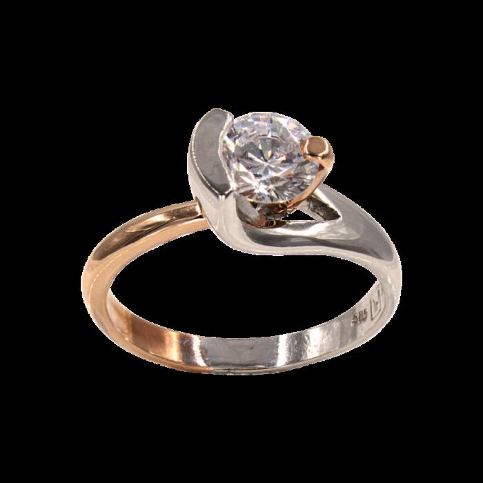 Μονόπετρο δαχτυλίδι δίχρωμο 14Κ - MD41713