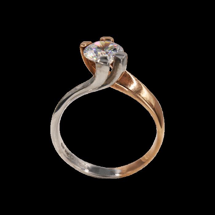 Μονόπετρο δαχτυλίδι δίχρωμο 14Κ - MD41716