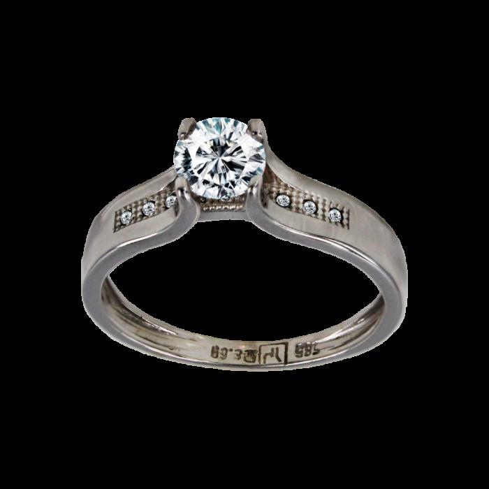 Μονόπετρο δαχτυλίδι λευκόχρυσο 14Κ - MD41735