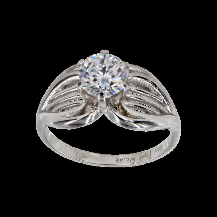 Μονόπετρο δαχτυλίδι λευκόχρυσο 14Κ - MD4174