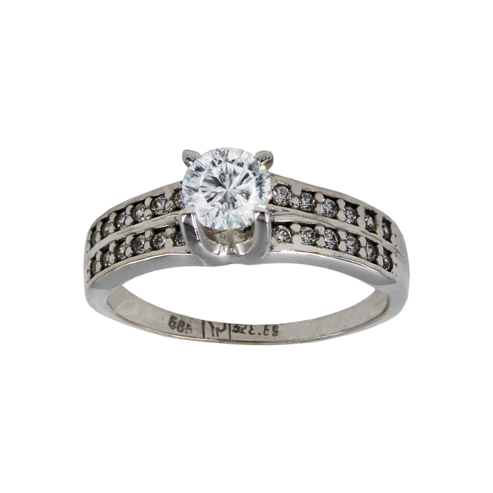 Μονόπετρο δαχτυλίδι λευκόχρυσο 14Κ - MD41774