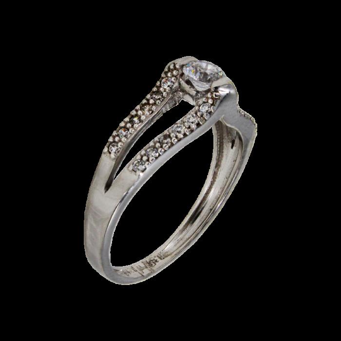 Μονόπετρο δαχτυλίδι λευκόχρυσο 14Κ - MD41785