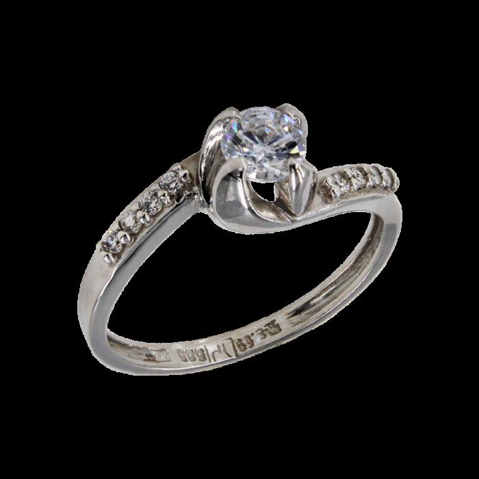 Μονόπετρο δαχτυλίδι λευκόχρυσο 14Κ - MD41795