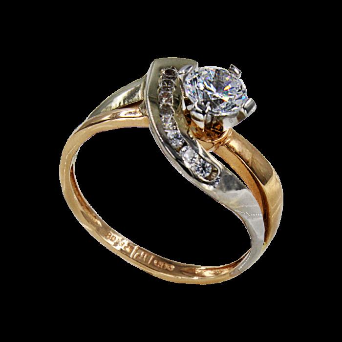 Μονόπετρο δαχτυλίδι δίχρωμο 14Κ - MD4200
