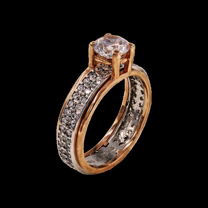 Μονόπετρο δαχτυλίδι δίχρωμο 14Κ - MD42150