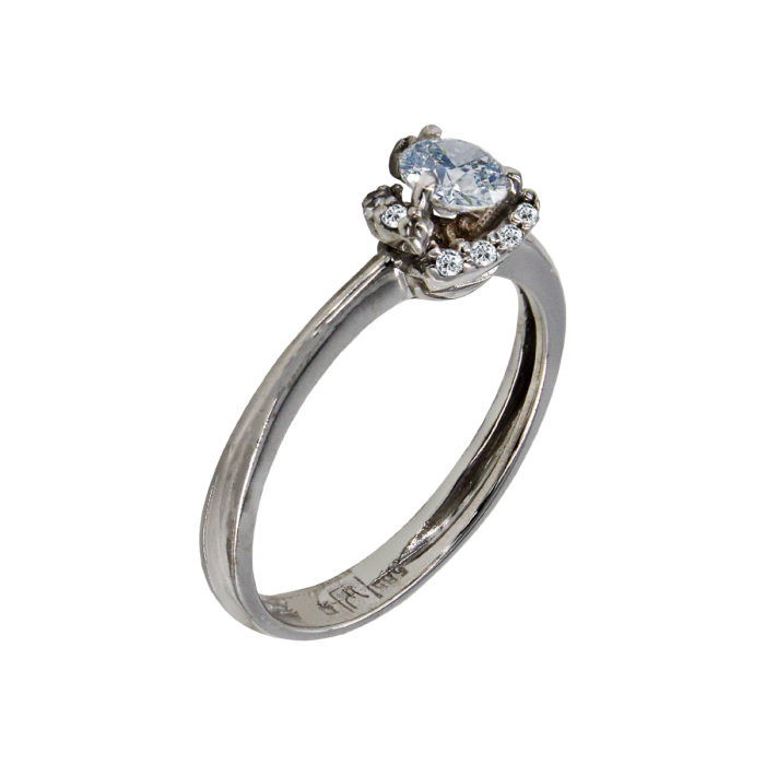 Μονόπετρο δαχτυλίδι λευκόχρυσο 14Κ - MD42164