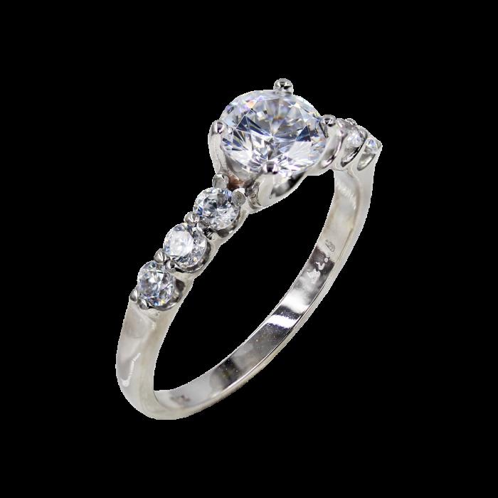 Μονόπετρο Δαχτυλίδι Λευκόχρυσο 14Κ - MD42203