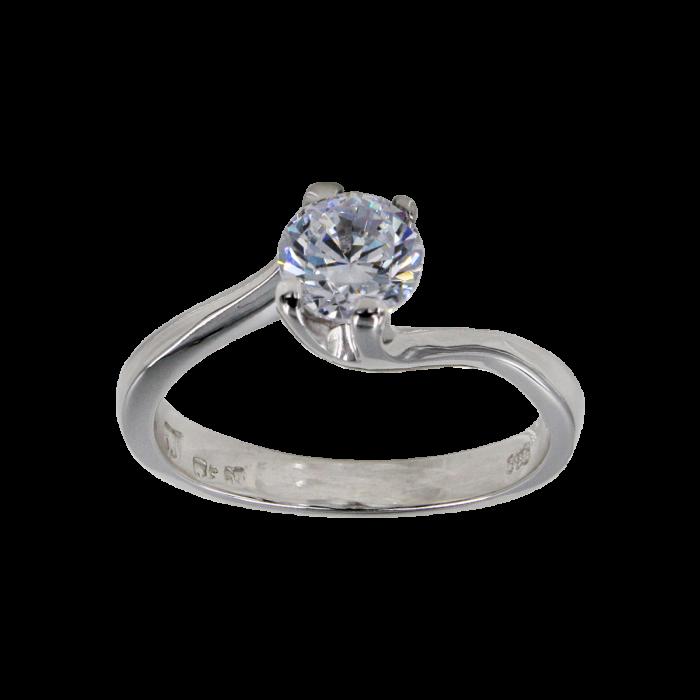 Μονόπετρο δαχτυλίδι λευκόχρυσο 14Κ - MD42324