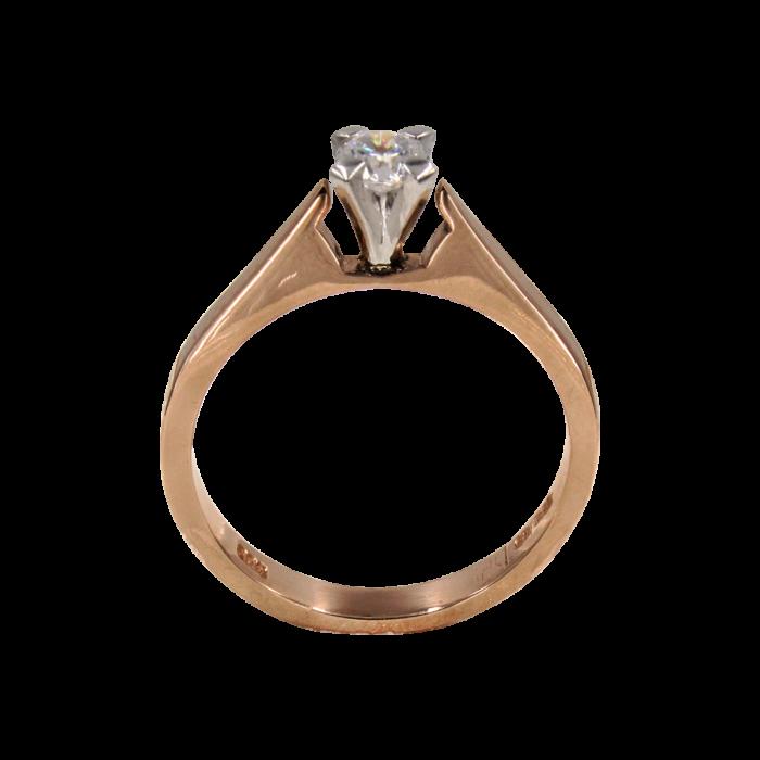 Μονόπετρο δαχτυλίδι δίχρωμο 14Κ - MD42331