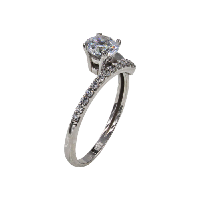 Μονόπετρο δαχτυλίδι λευκόχρυσο 14Κ - MD42373