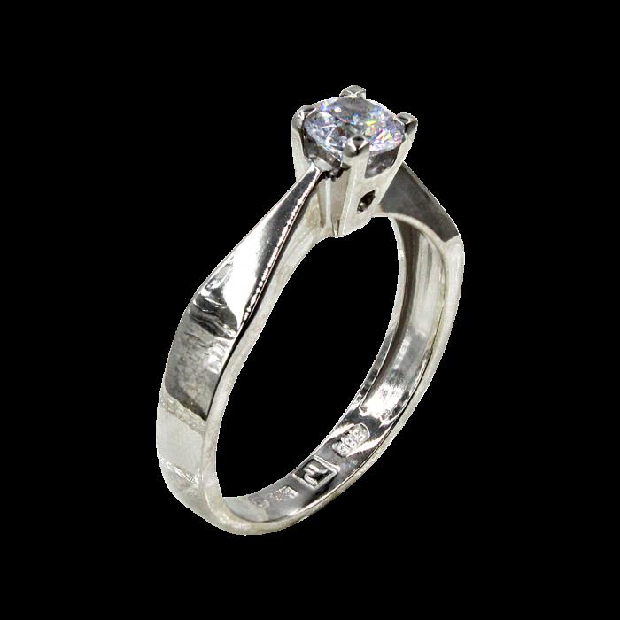 Μονόπετρο δαχτυλίδι λευκόχρυσο 14Κ - MD42424