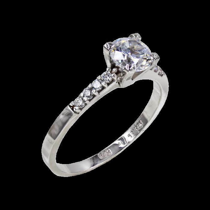 Μονόπετρο Δαχτυλίδι Λευκόχρυσο 14Κ - MD42426
