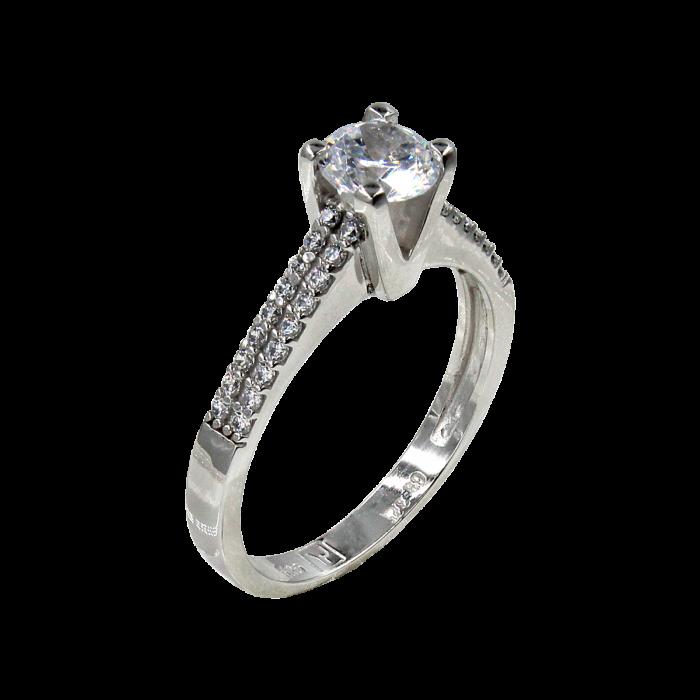 Μονόπετρο δαχτυλίδι λευκόχρυσο 14Κ - MD42450
