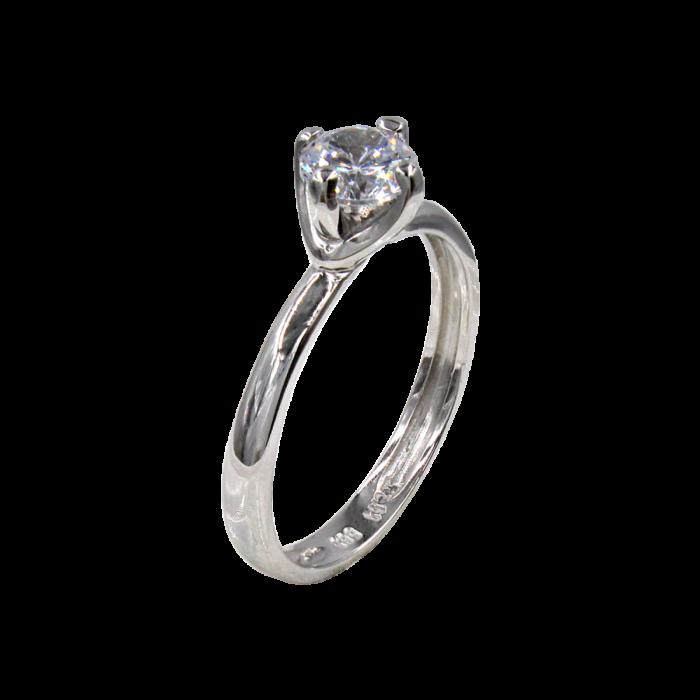 Μονόπετρο δαχτυλίδι λευκόχρυσο 14Κ - MD42458