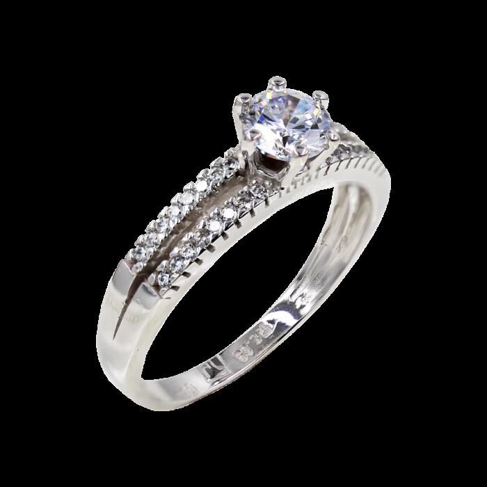 Μονόπετρο Δαχτυλίδι Λευκόχρυσο 14Κ - MD42492