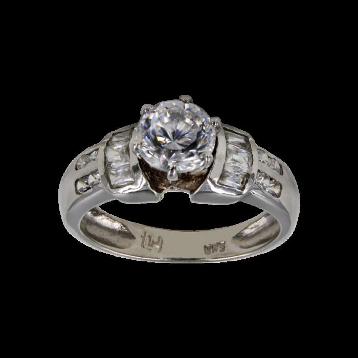 Μονόπετρο δαχτυλίδι λευκόχρυσο 14Κ - MD4528