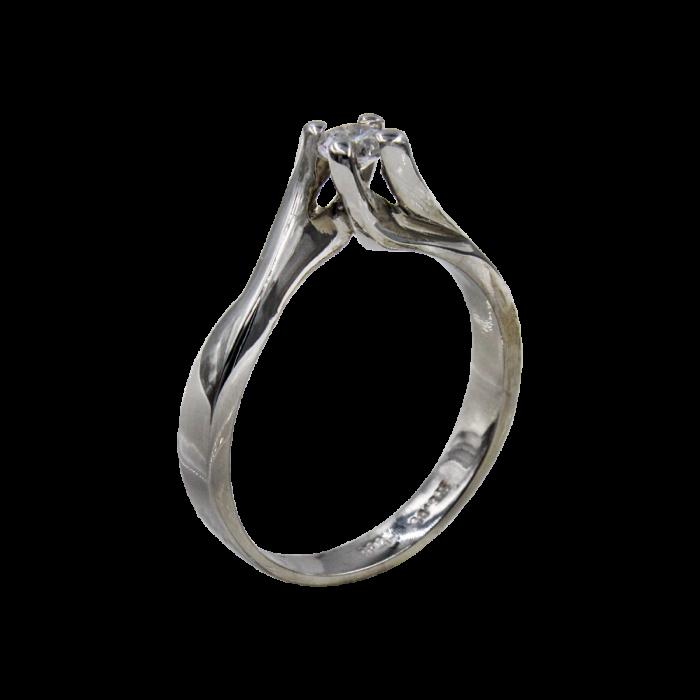 Μονόπετρο δαχτυλίδι λευκόχρυσο 14Κ - MD4548