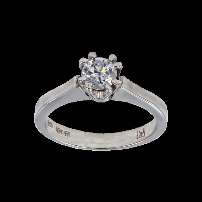Μονόπετρο δαχτυλίδι λευκόχρυσο 14Κ - MD4654