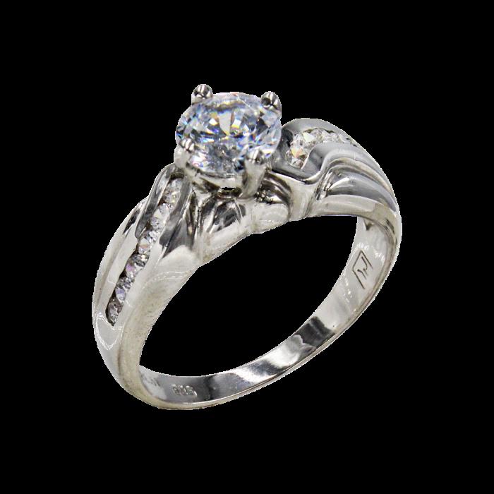 Μονόπετρο δαχτυλίδι λευκόχρυσο 14Κ - MD4675