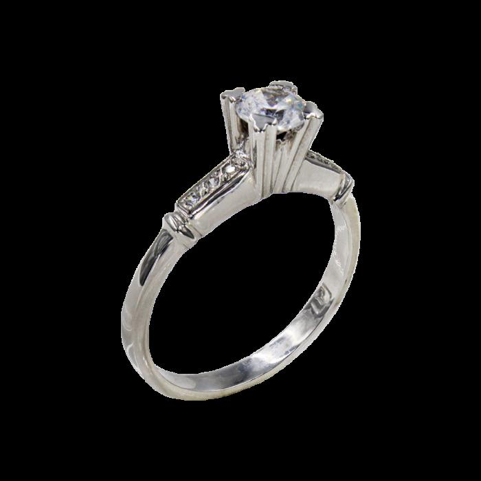 Μονόπετρο δαχτυλίδι λευκόχρυσο 14Κ - MD4838