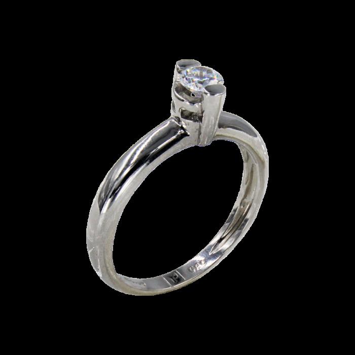 Μονόπετρο δαχτυλίδι λευκόχρυσο 14Κ - MD4844