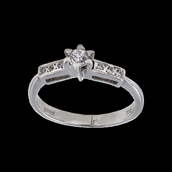 Μονόπετρο δαχτυλίδι λευκόχρυσο 14Κ - MD4868
