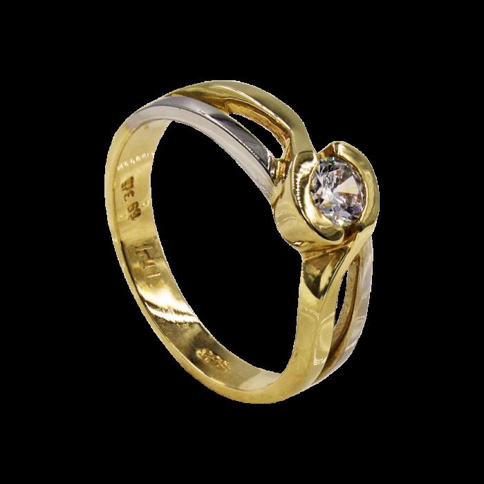 Μονόπετρο δαχτυλίδι δίχρωμο 14Κ - MD51265