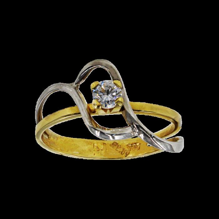 Μονόπετρο δαχτυλίδι δίχρωμο 14Κ - MD51273