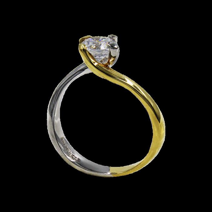 Μονόπετρο δαχτυλίδι δίχρωμο 14Κ - MD51359
