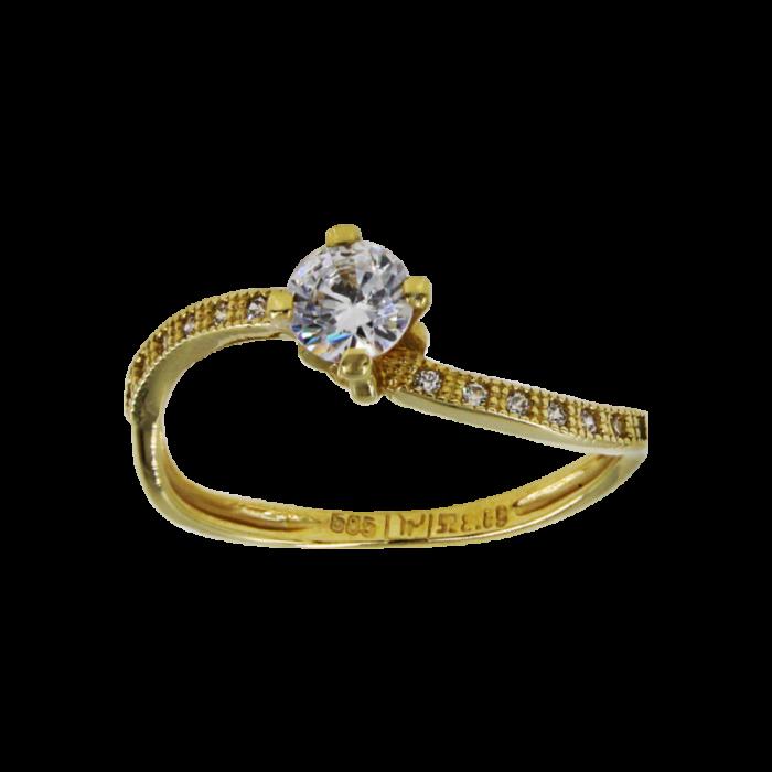 Μονόπετρο δαχτυλίδι χρυσό 14Κ - MD51702