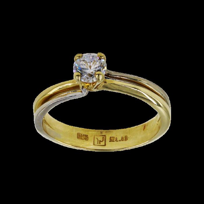 Μονόπετρο δαχτυλίδι δίχρωμο 14Κ - MD52257