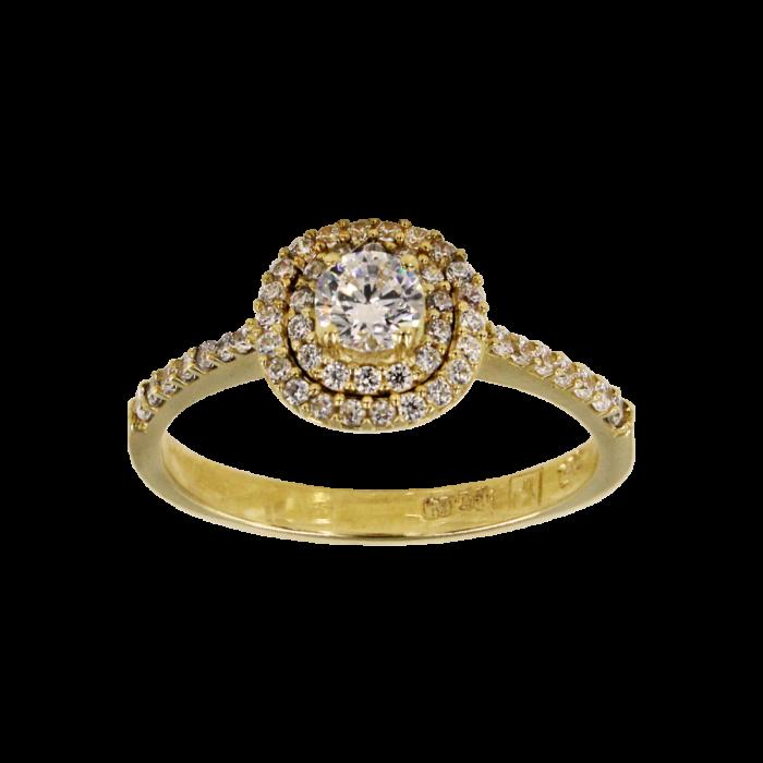 Μονόπετρο δαχτυλίδι χρυσό 14Κ - MD52313