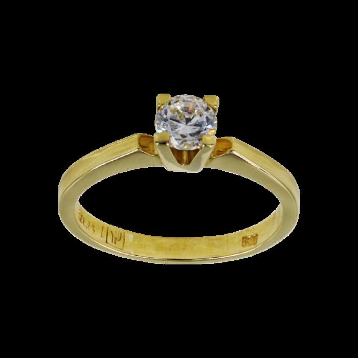 Μονόπετρο δαχτυλίδι χρυσό 14Κ - MD52320