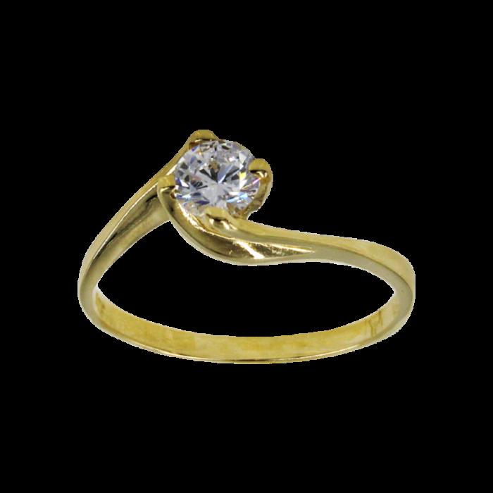 Μονόπετρο δαχτυλίδι χρυσό 14Κ - MD52325