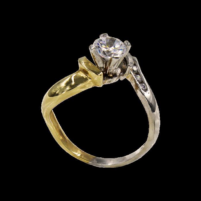 Μονόπετρο δαχτυλίδι δίχρωμο 14Κ - MD5237