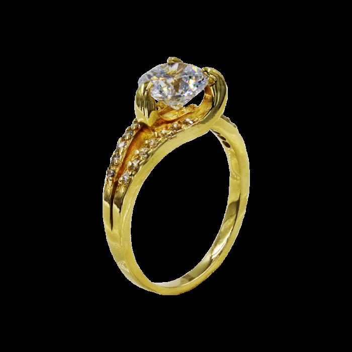 Μονόπετρο δαχτυλίδι χρυσό 14Κ - MDA2037