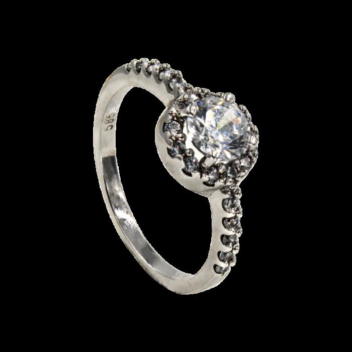 Μονόπετρο δαχτυλίδι λευκόχρυσο 14Κ - MDA2102