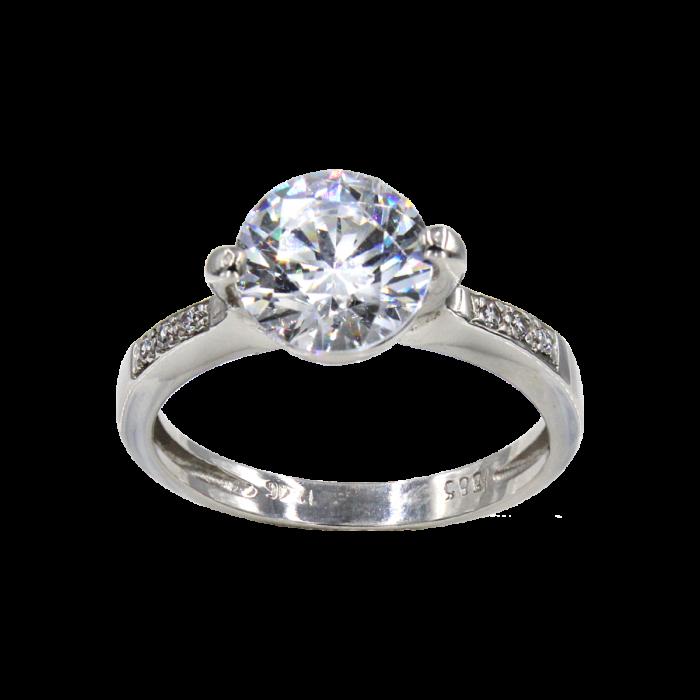 Μονόπετρο δαχτυλίδι λευκόχρυσο 14Κ - MDA746