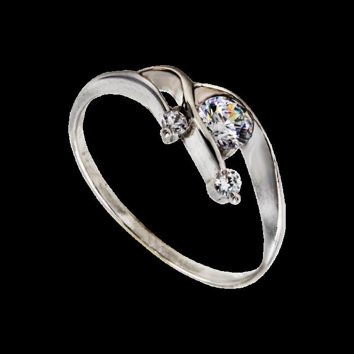 Μονόπετρο δαχτυλίδι λευκόχρυσο 14Κ - MDA789