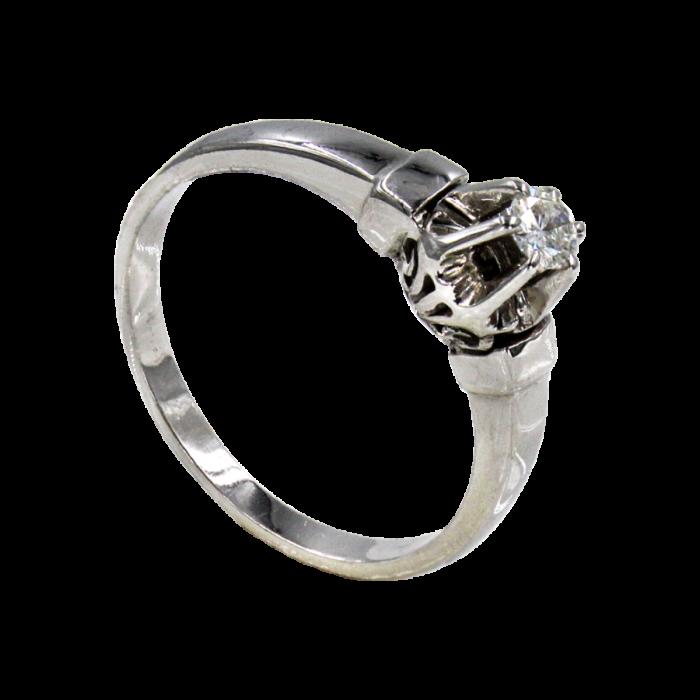 Μονόπετρο δαχτυλίδι λευκόχρυσο 18Κ - MDB1040
