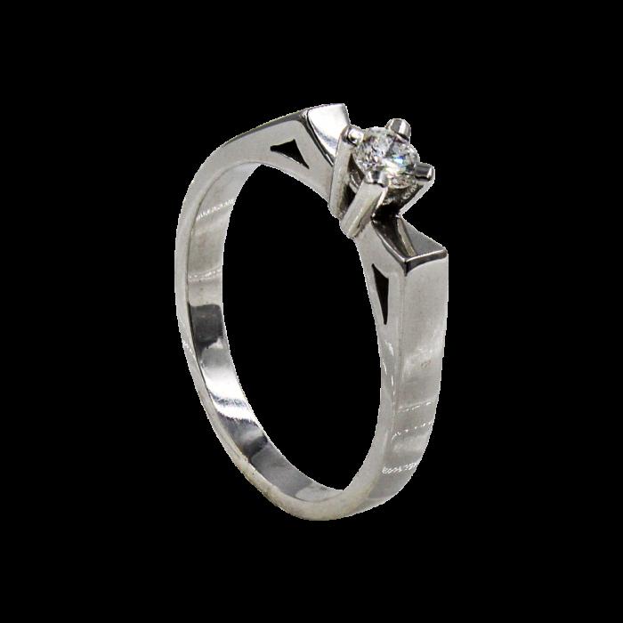 Μονόπετρο δαχτυλίδι λευκόχρυσο 18Κ - MDB1257