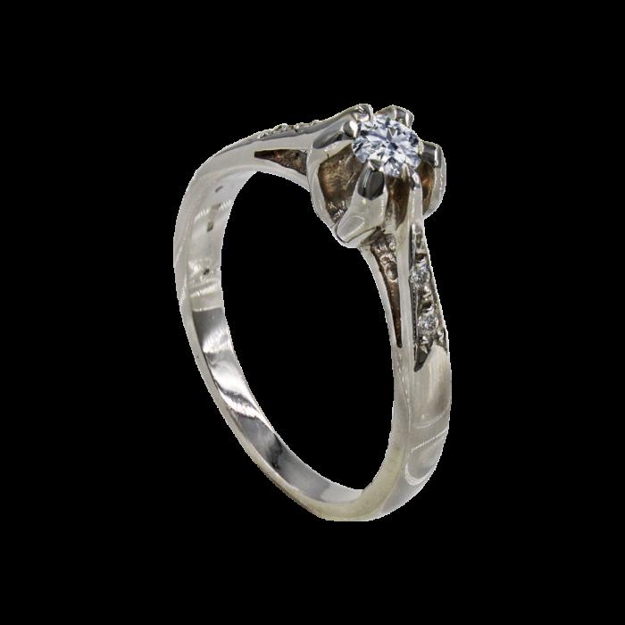 Μονόπετρο δαχτυλίδι λευκόχρυσο 18Κ - MDB1307