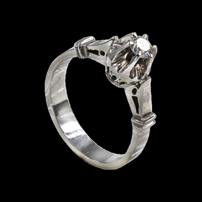 Μονόπετρο δαχτυλίδι λευκόχρυσο 18Κ - MDB1313