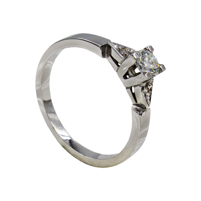 Μονόπετρο δαχτυλίδι λευκόχρυσο 18Κ - MDB1357
